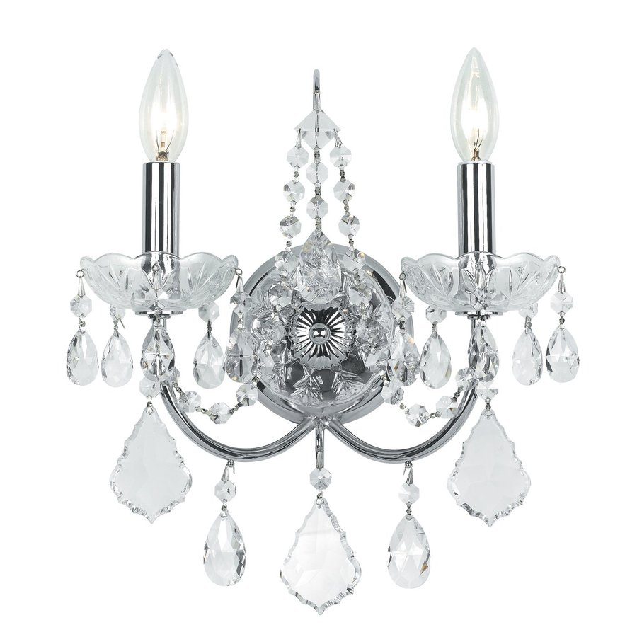 Cascadia Lighting 12-in W 2-Light Polished Chrome Crystal Accent Arm Wall Sconce