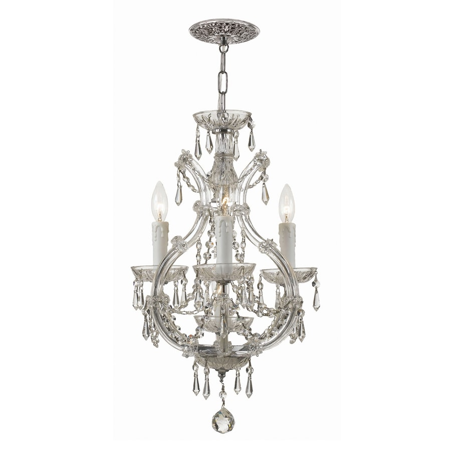 Cascadia Lighting Maria Theresa 12-in 4-Light Polished Chrome Crystal Candle Chandelier