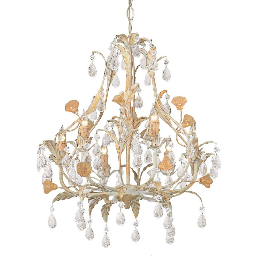 Cascadia Lighting Athena 18-in 6-Light Champagne Vintage Candle Chandelier