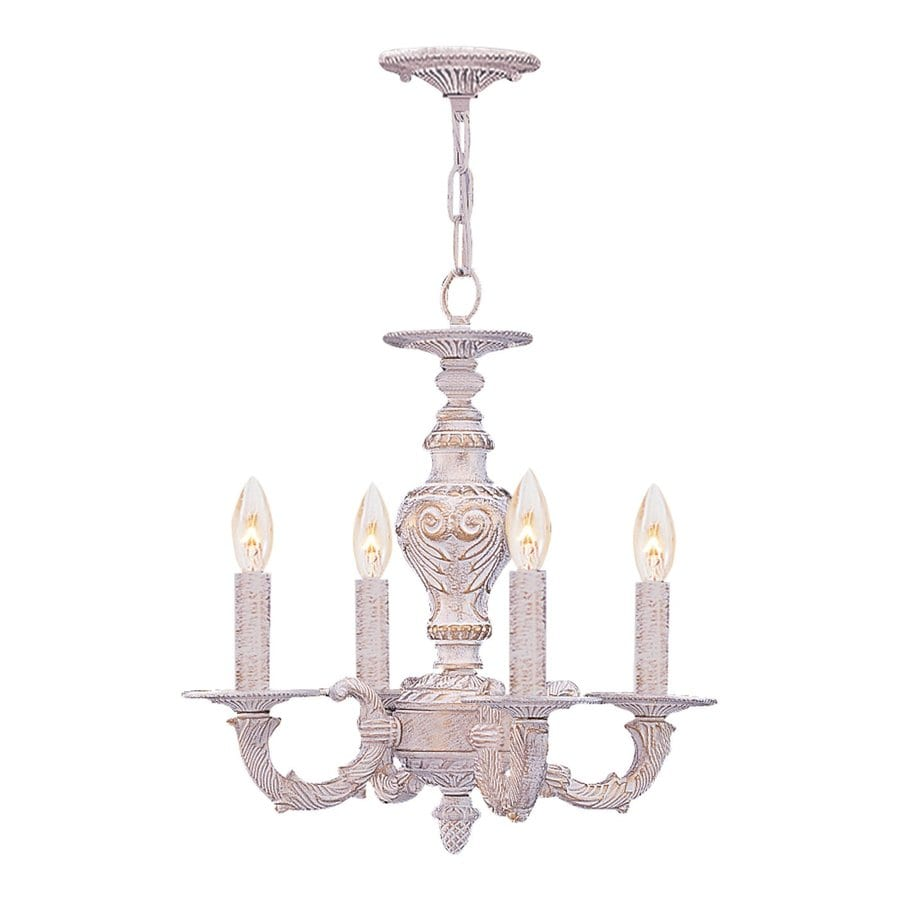 Cascadia Lighting Paris Market 13.5-in 4-Light Antique White Vintage Candle Chandelier