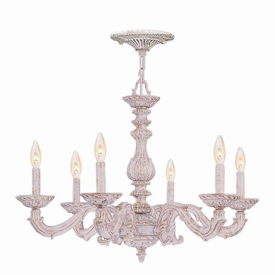 Shop cascadia lighting paris market 28 in 6 light antique white cascadia lighting paris market 28 in 6 light antique white vintage candle chandelier aloadofball Gallery