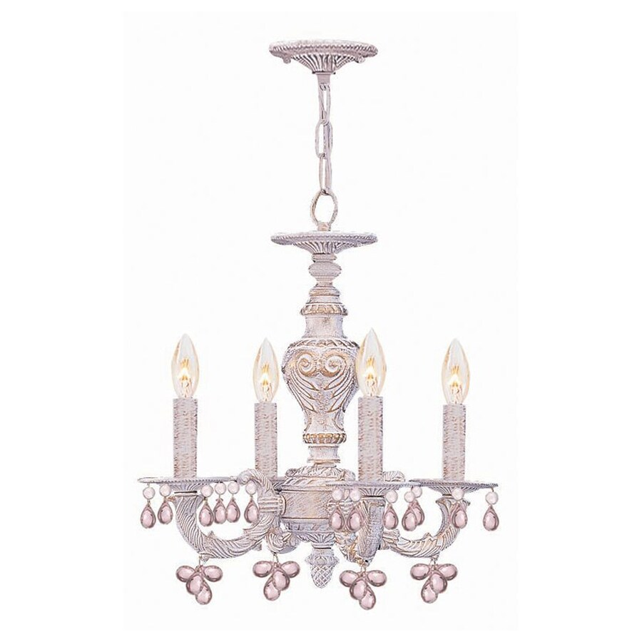 Cascadia Lighting 4-Light Antique White Crystal Accent Chandelier