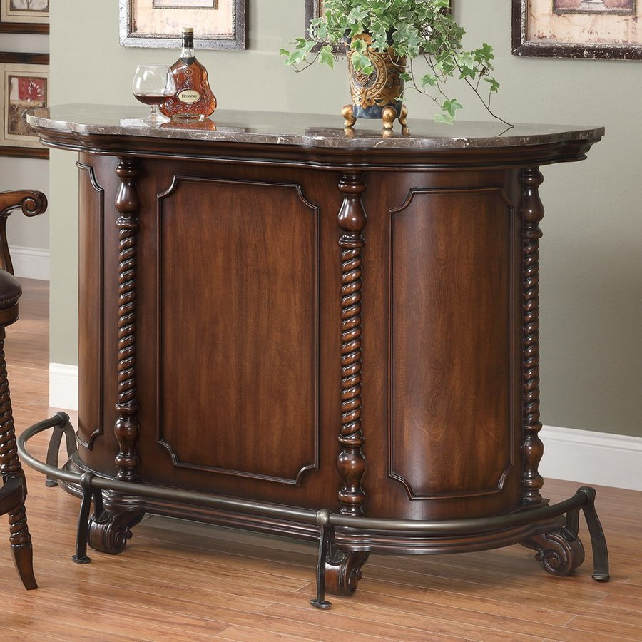 Shop coaster fine furniture 60 in x 42 in oval cabinet bar for Bar at home furniture
