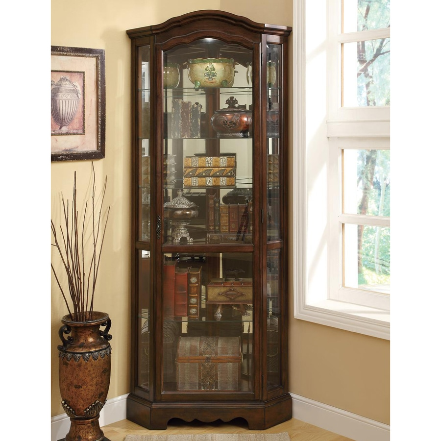 Coaster Fine Furniture Rich Brown Corner Curio Cabinet