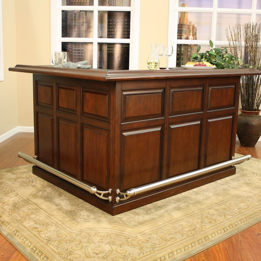 Shop american heritage billiards catania 84 in x maple l shaped standard bar at Home bar furniture with kegerator