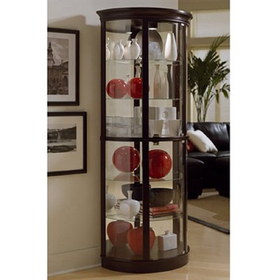 Ski Chocolate Cherry Ii Half Round Curio Cabinet