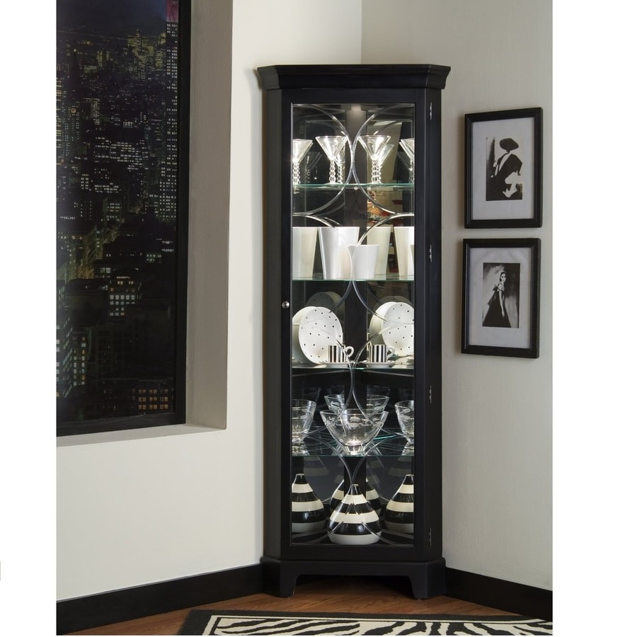 Bon Pulaski Oxford Black Wood Curio Cabinet