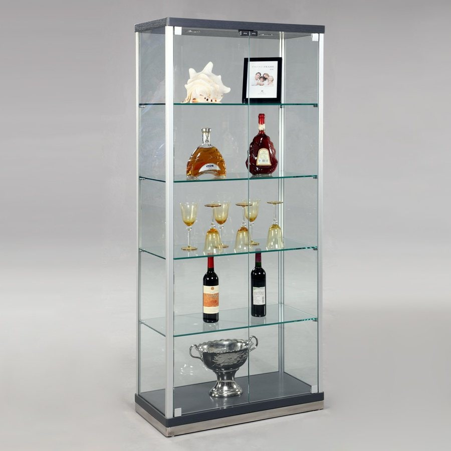 Shop chintaly imports grey silver rectangular curio for Black and silver cabinet
