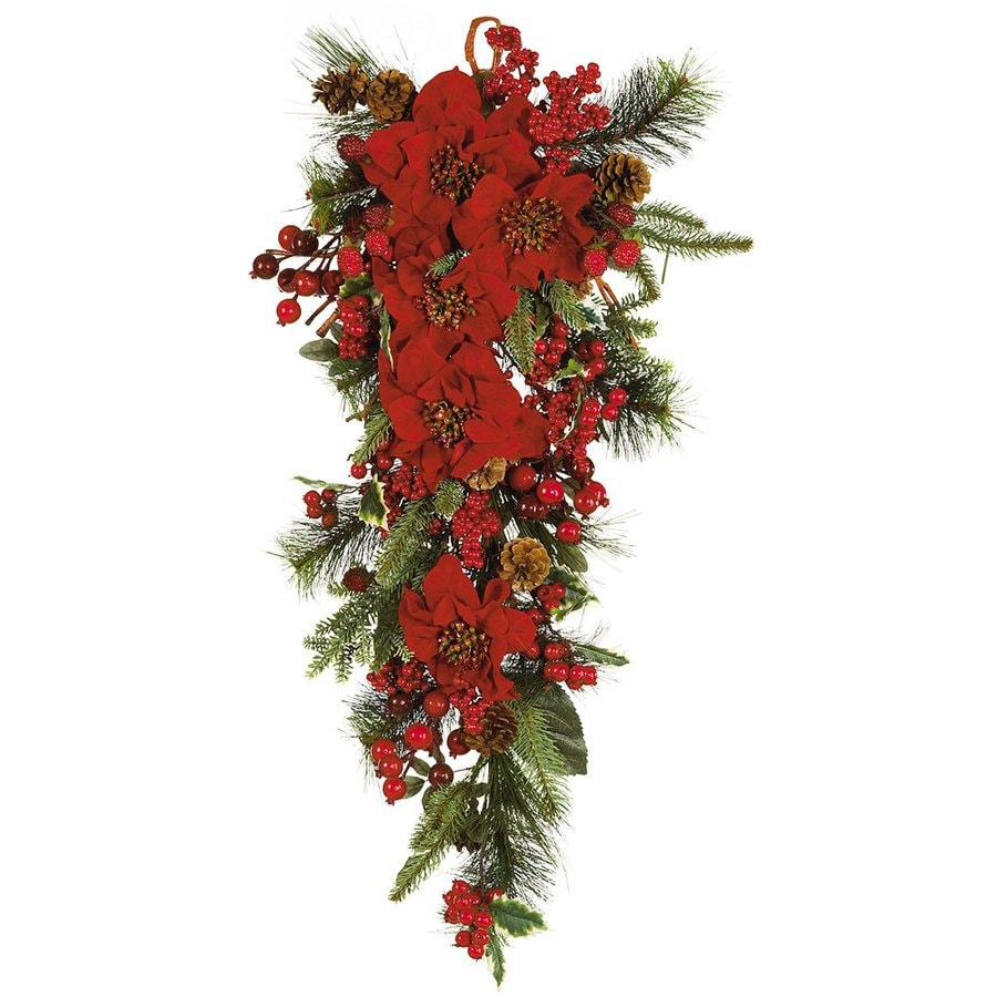 Shop nearly natural indoor unlit 2 5 ft l poinsettia for 5ft poinsettia garland christmas decoration