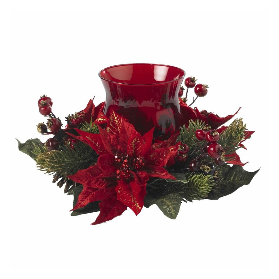 Shop nearly natural 1 candle red glass christmas candle for Christmas candle displays