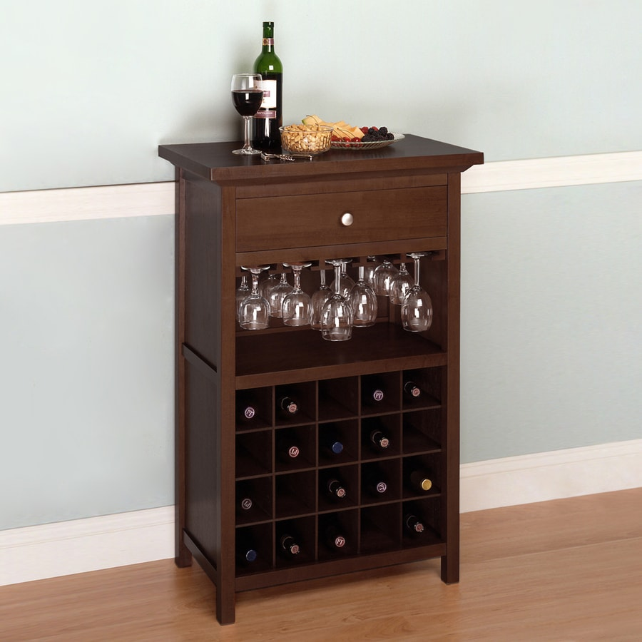 Winsome Wood Walnut 20-Bottle Beechwood Wine Cabinet