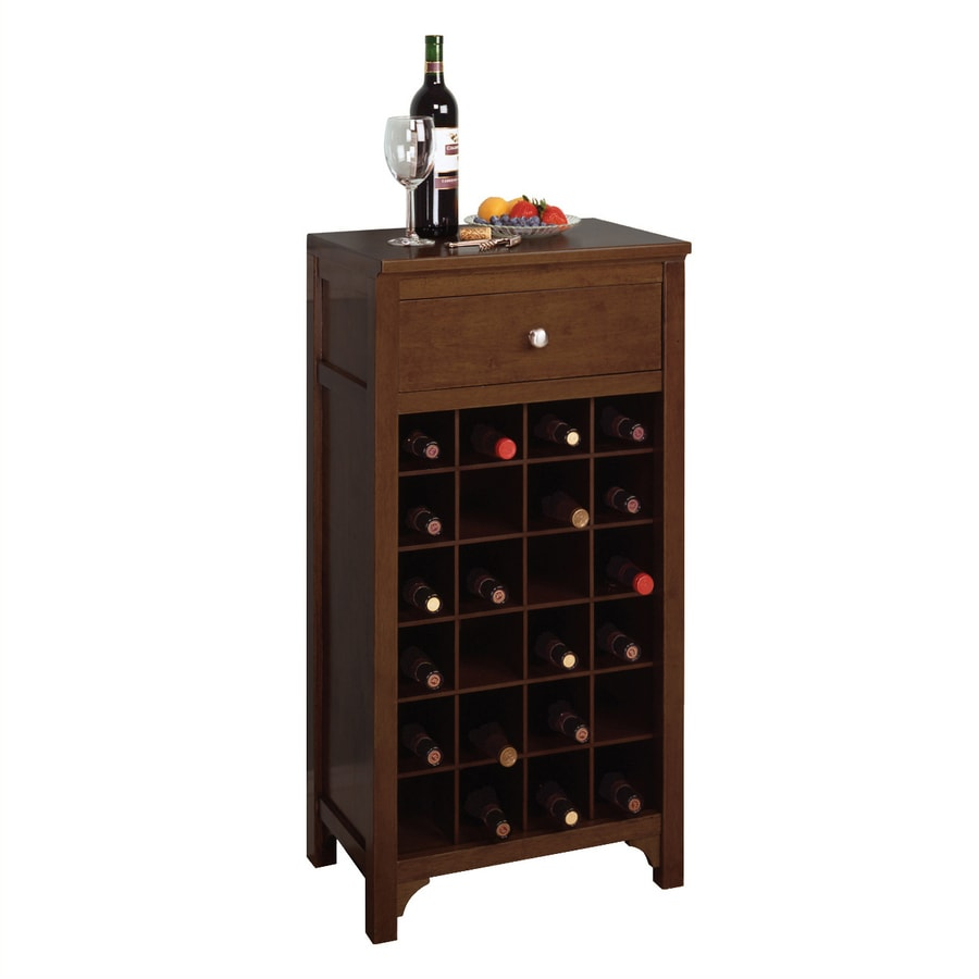 Winsome Wood Walnut 24 Bottle Beechwood Wine Cabinet At Lowescom
