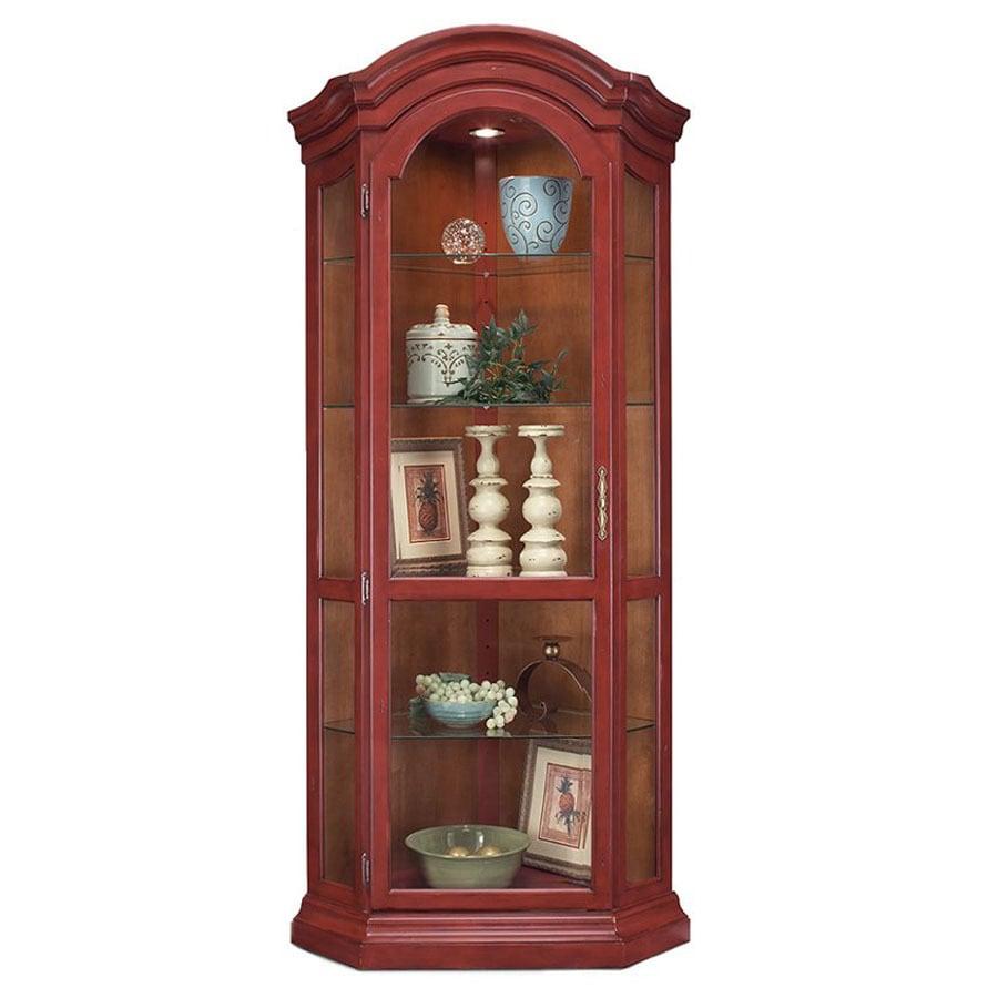Philip-Reinisch Company Colortime Chili Pepper Red Corner Curio Cabinet