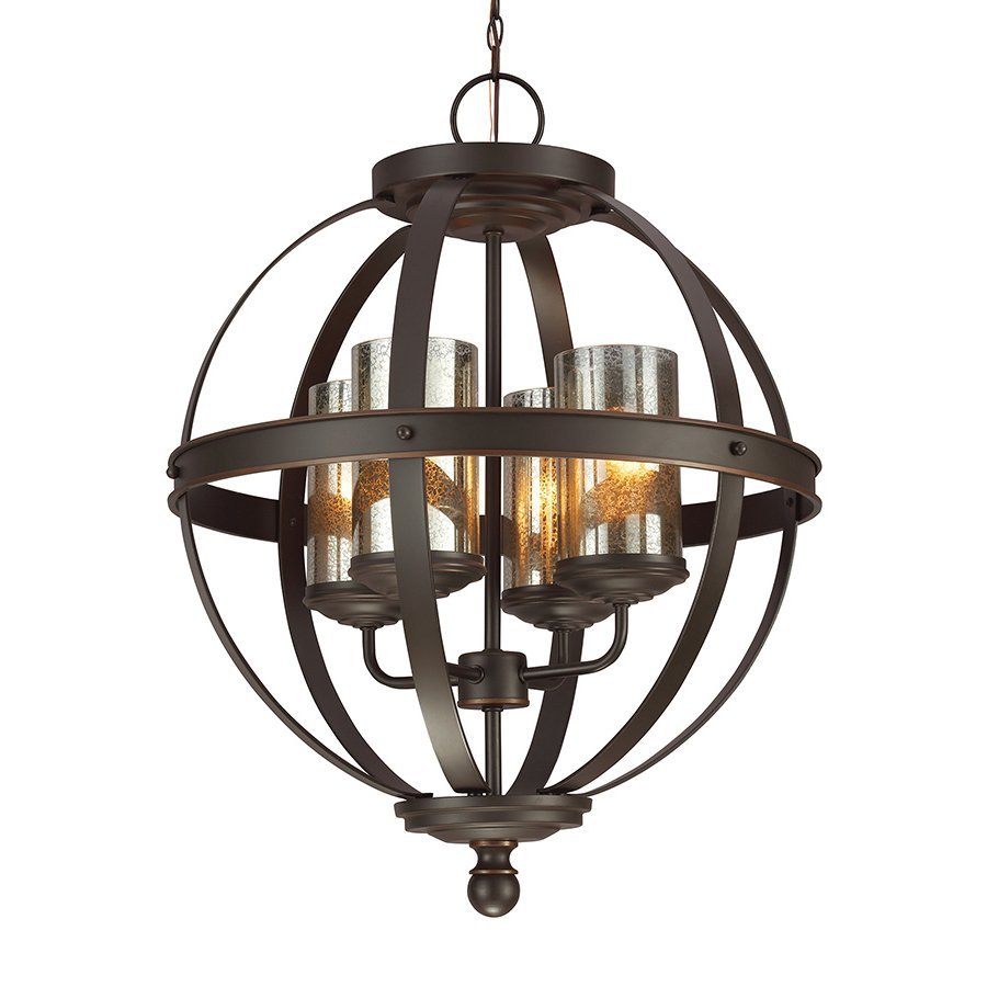 Sea Gull Lighting Sfera 18.5-in Autumn Bronze Wrought Iron Single Mercury Glass Orb Pendant