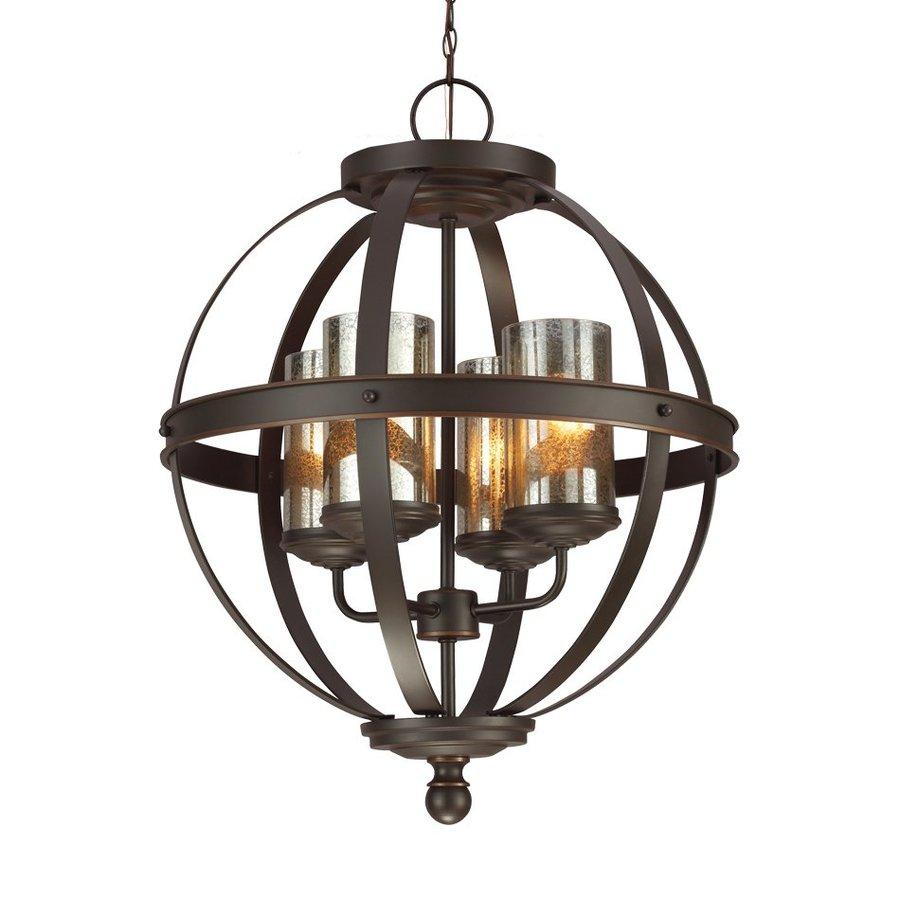 Sea Gull Lighting Sfera 18.5-in Autumn Bronze Wrought Iron Single Mercury Glass Orb Pendant