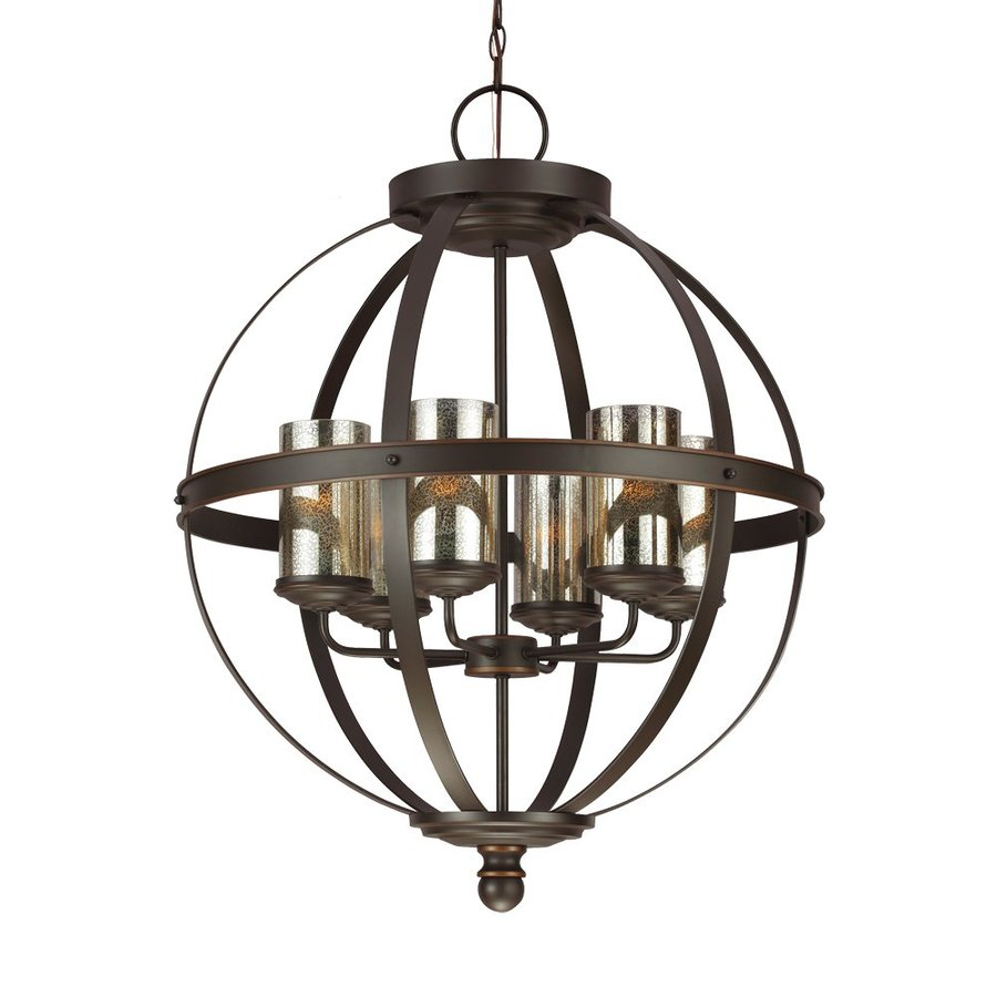 Sea Gull Lighting Sfera 24.5-in Autumn Bronze Wrought Iron Single Mercury Glass Orb Pendant