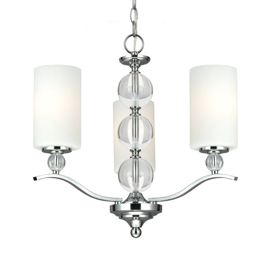 Sea Gull Lighting Englehorn 20-in 3-Light Chrome Crystal Etched Glass Shaded Chandelier