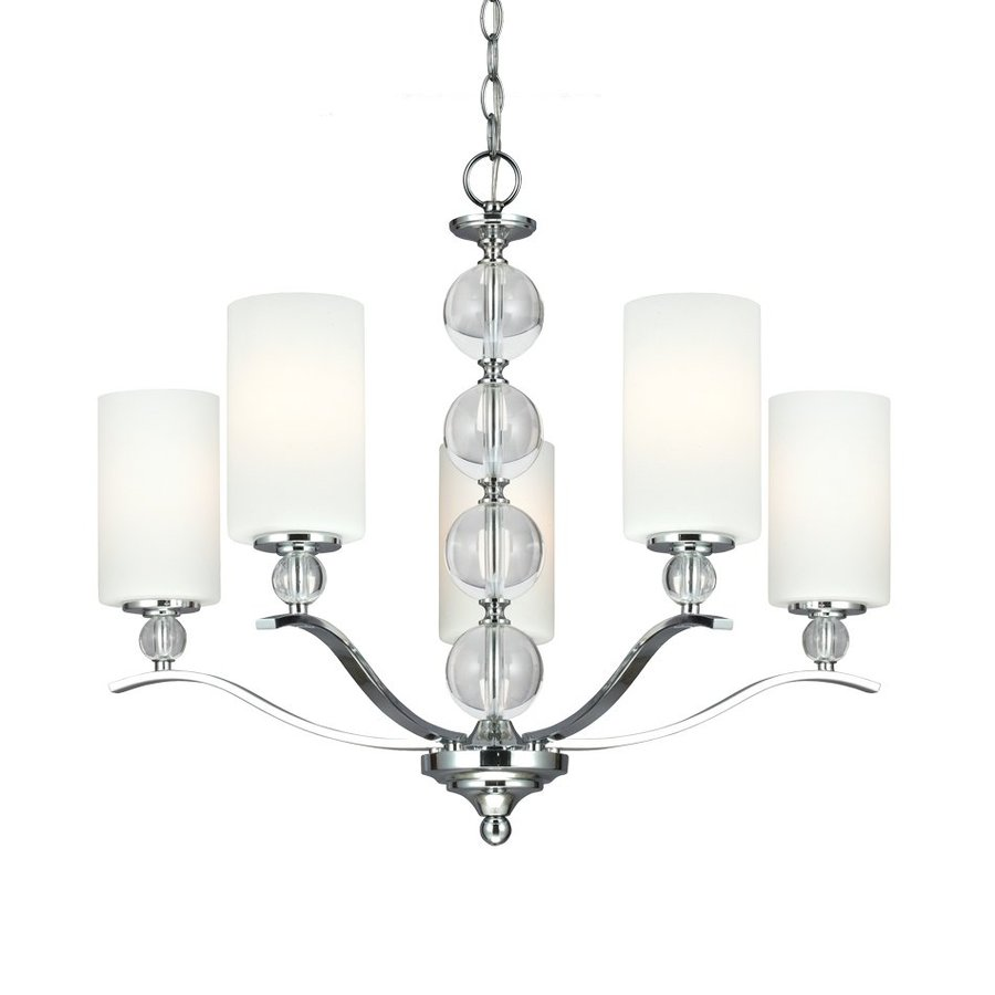 Sea Gull Lighting Englehorn 26.5-in 5-Light Chrome Crystal Etched Glass Shaded Chandelier