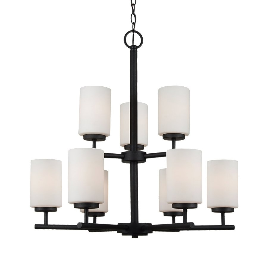 Sea Gull Lighting Oslo 26-in 9-Light Blacksmith Craftsman Etched Glass Tiered Chandelier