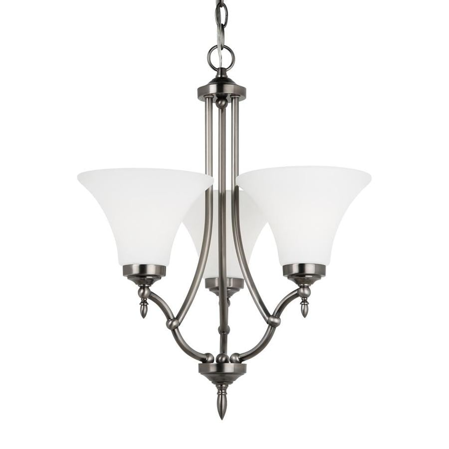 Sea Gull Lighting Montreal 18.4-in 3-Light Antique brushed nickel Etched Glass Shaded Chandelier