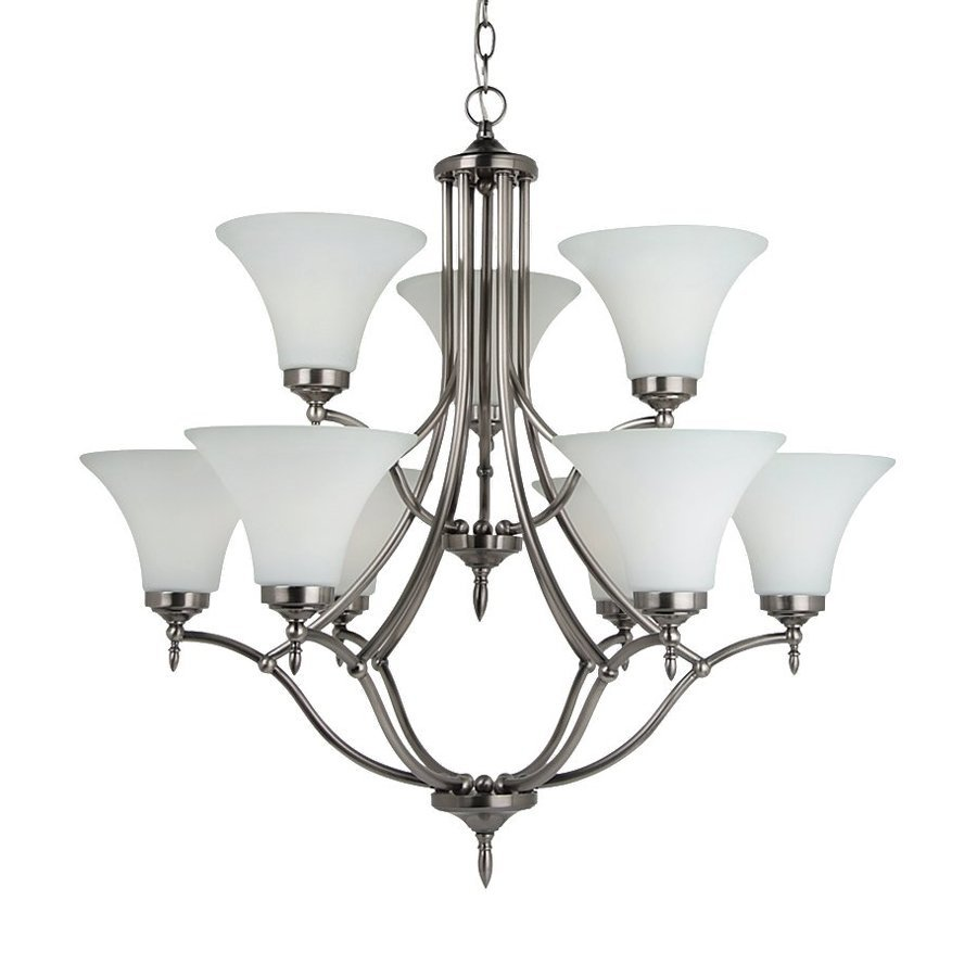 Sea Gull Lighting Montreal 30.37-in 9-Light Antique Brushed Nickel Etched Glass Tiered Chandelier