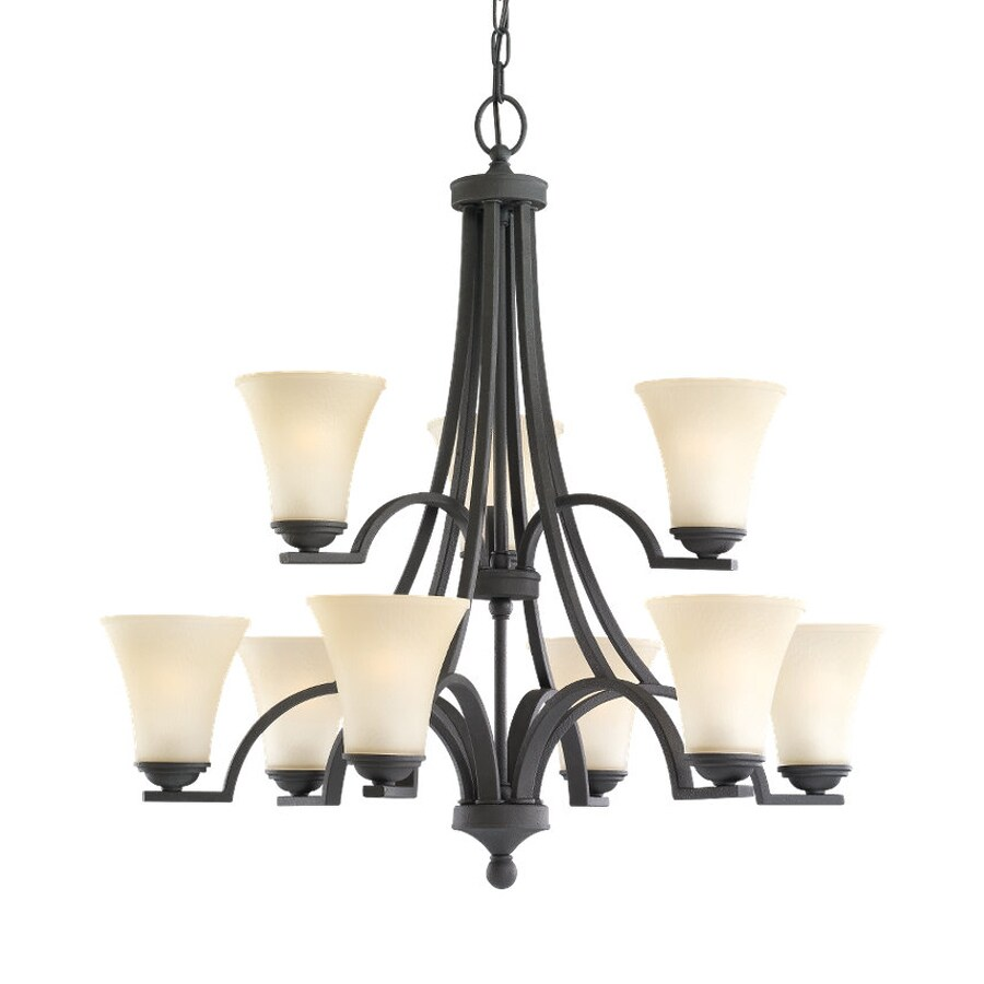 Sea Gull Lighting Somerton 29.5-in 9-Light Blacksmith Mediterranean Tinted Glass Tiered Chandelier