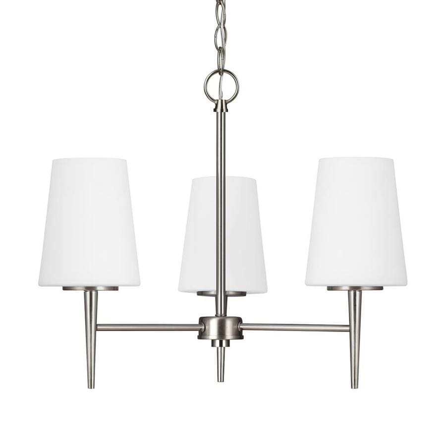 Sea Gull Lighting Driscoll 20.5-in 3-Light Brushed nickel Etched Glass Shaded Chandelier