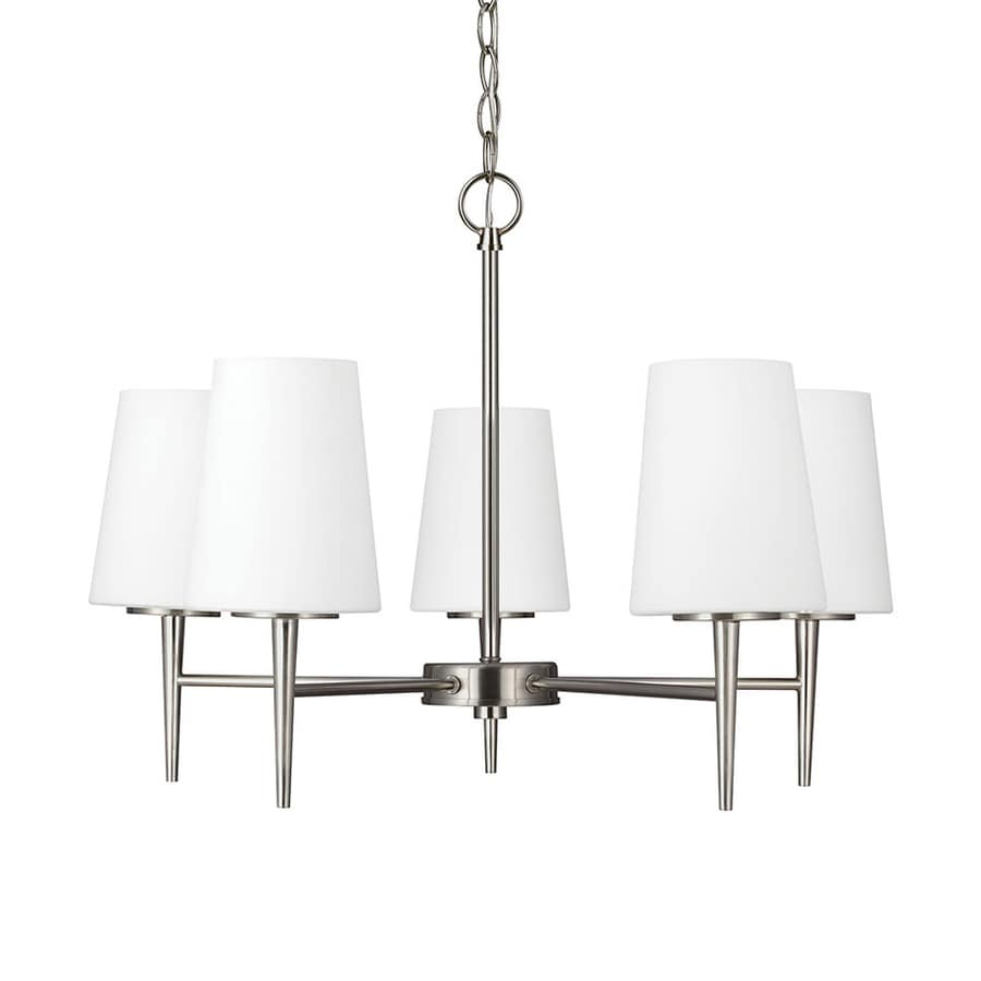 Sea Gull Lighting Driscoll 25.25-in 5-Light Brushed Nickel Etched Glass Shaded Chandelier