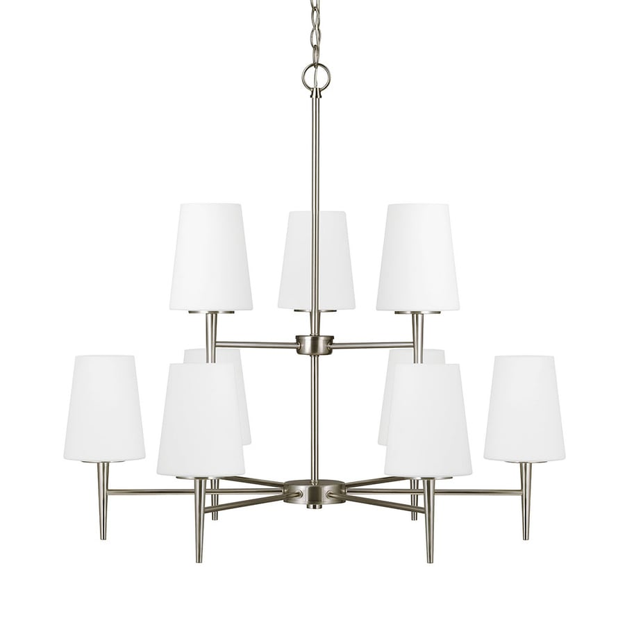 Sea Gull Lighting Driscoll 32-in 9-Light Brushed Nickel Etched Glass Tiered Chandelier