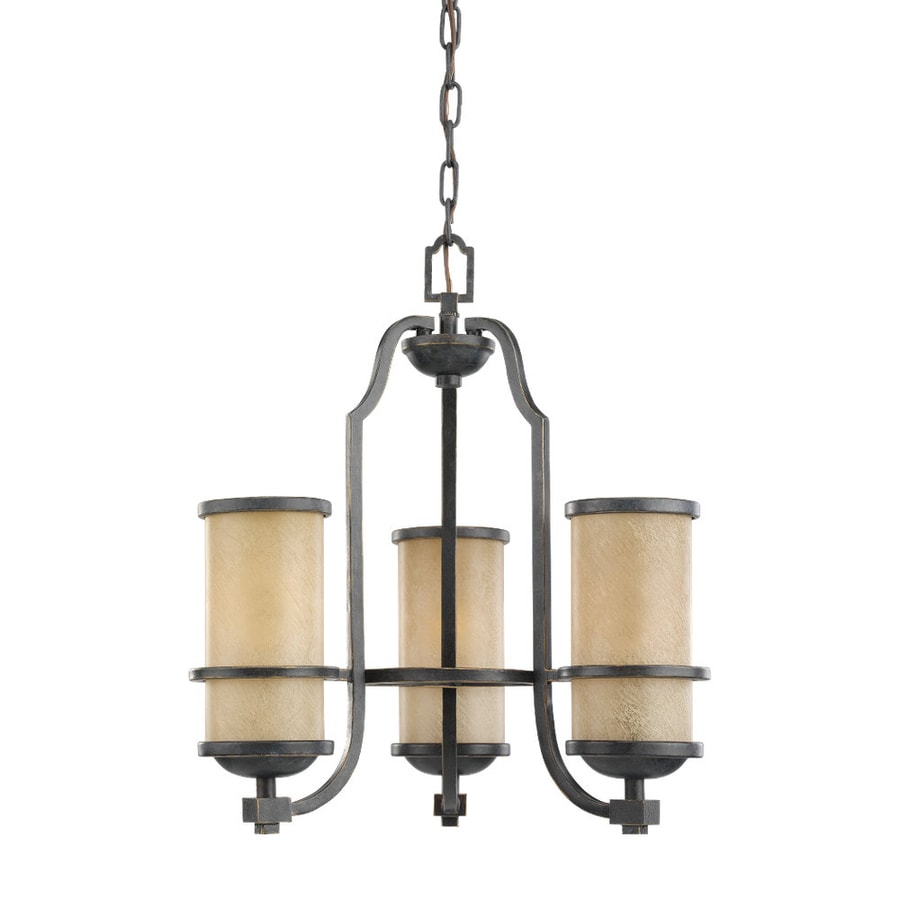 Sea Gull Lighting Roslyn 18-in 3-Light Flemish Bronze Mediterranean Tinted Glass Shaded Chandelier
