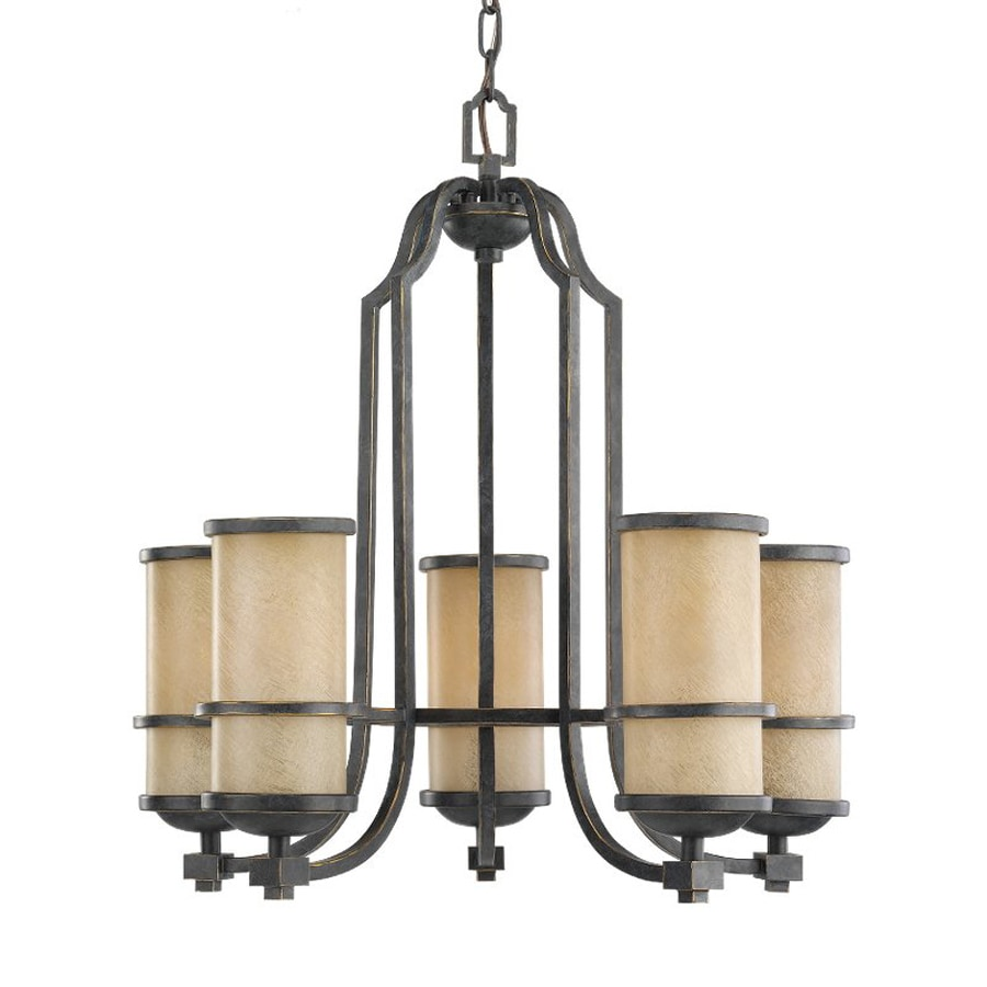 Sea Gull Lighting Roslyn 23-in 5-Light Flemish Bronze Mediterranean Tinted Glass Shaded Chandelier
