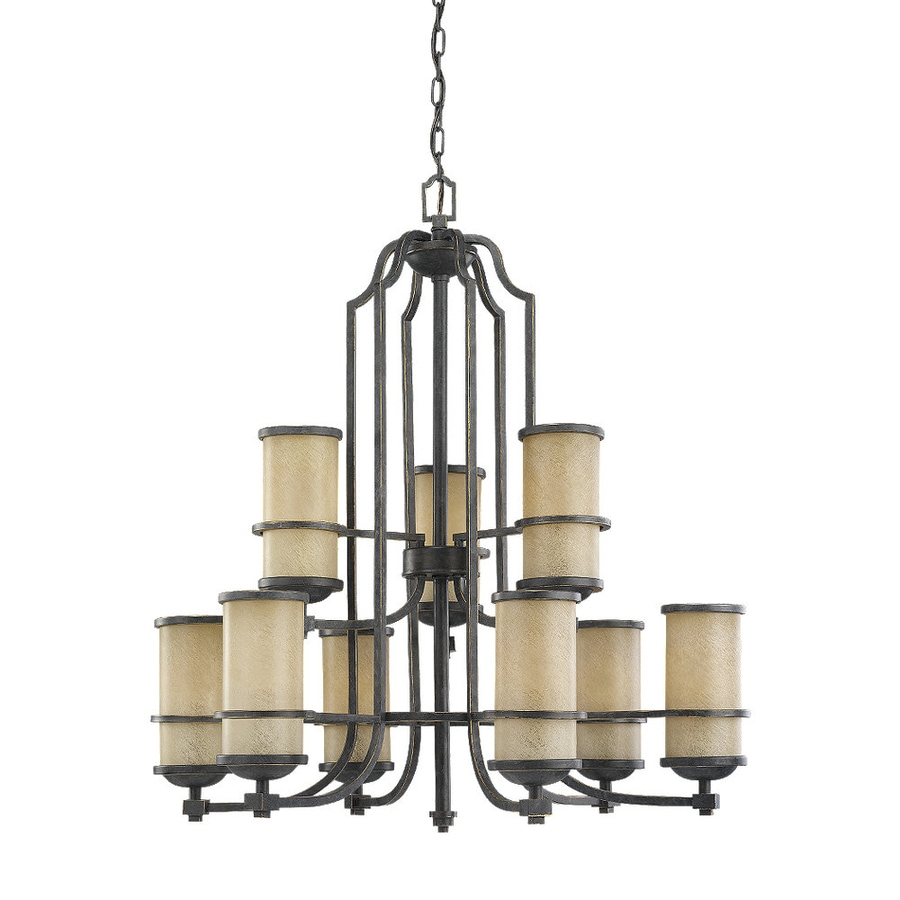 Sea Gull Lighting Roslyn 31.25-in 9-Light Flemish Bronze Mediterranean Tinted Glass Tiered Chandelier
