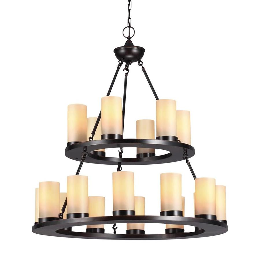 Sea Gull Lighting Ellington 30-in 18-Light Burnt Sienna Rustic Tinted Glass Candle Chandelier