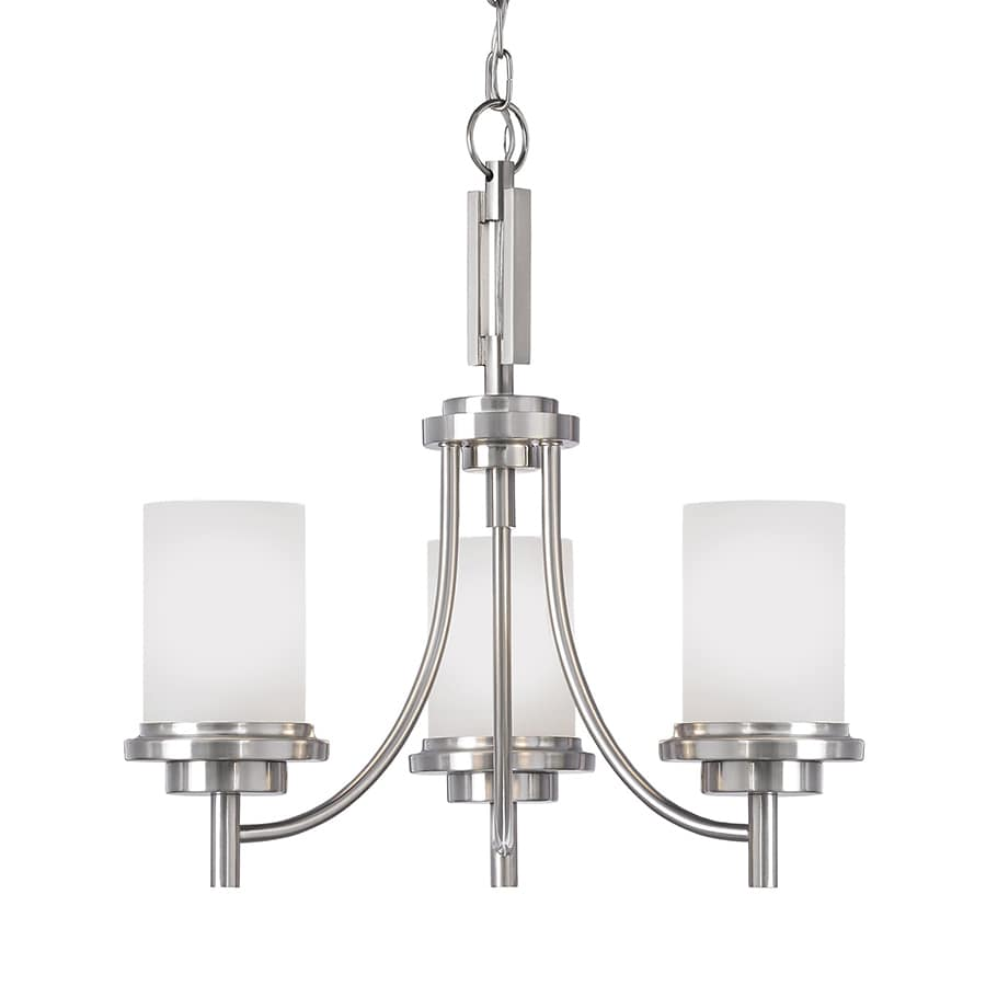 Sea Gull Lighting Winnetka 21-in 3-Light Brushed Nickel Etched Glass Shaded Chandelier