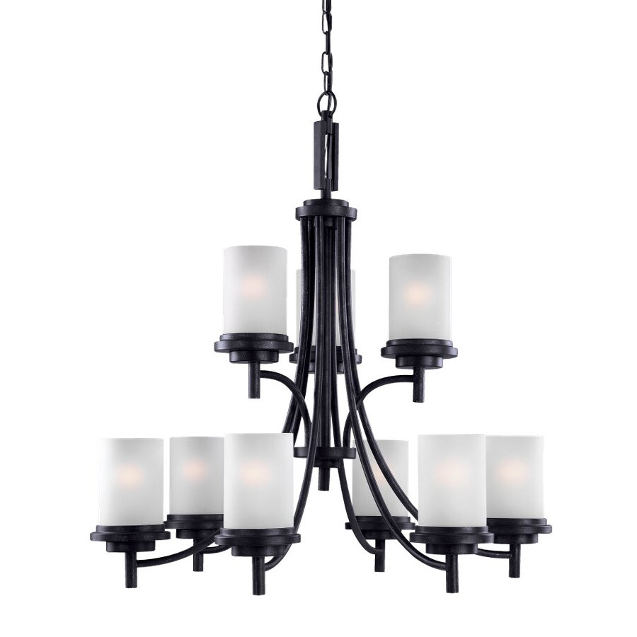 Sea Gull Lighting Winnetka 32-in 9-Light Blacksmith Craftsman Etched Glass Tiered Chandelier