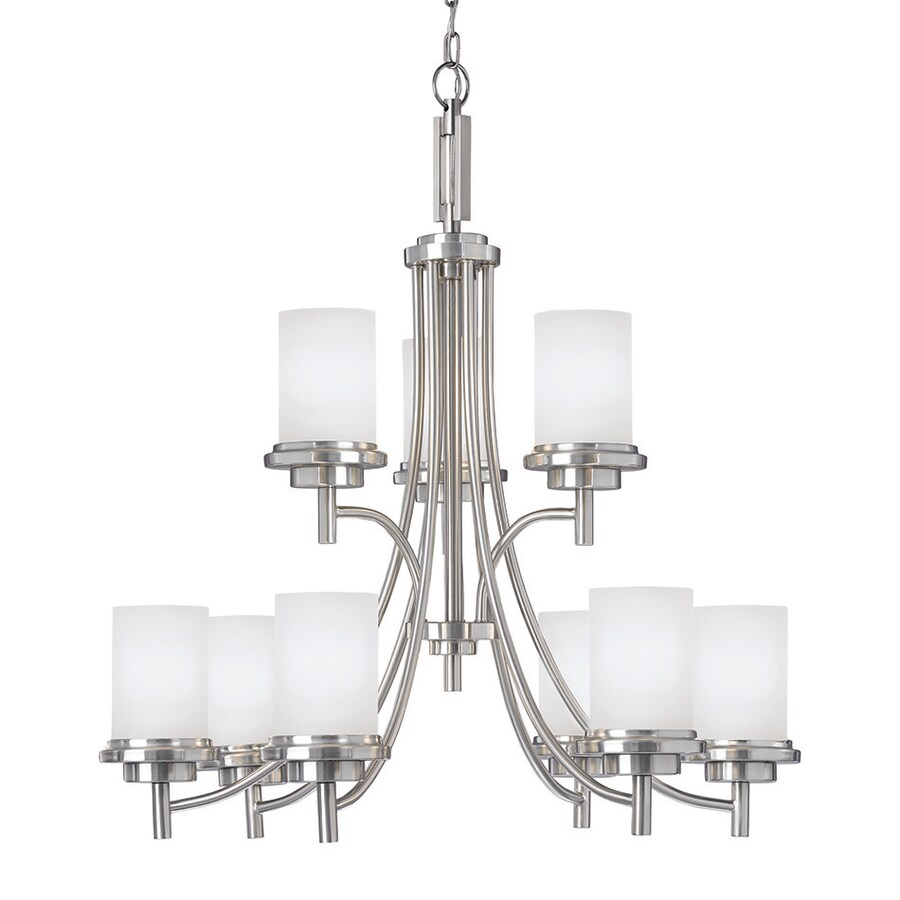 Sea Gull Lighting Winnetka 32-in 9-Light Brushed Nickel Etched Glass Tiered Chandelier