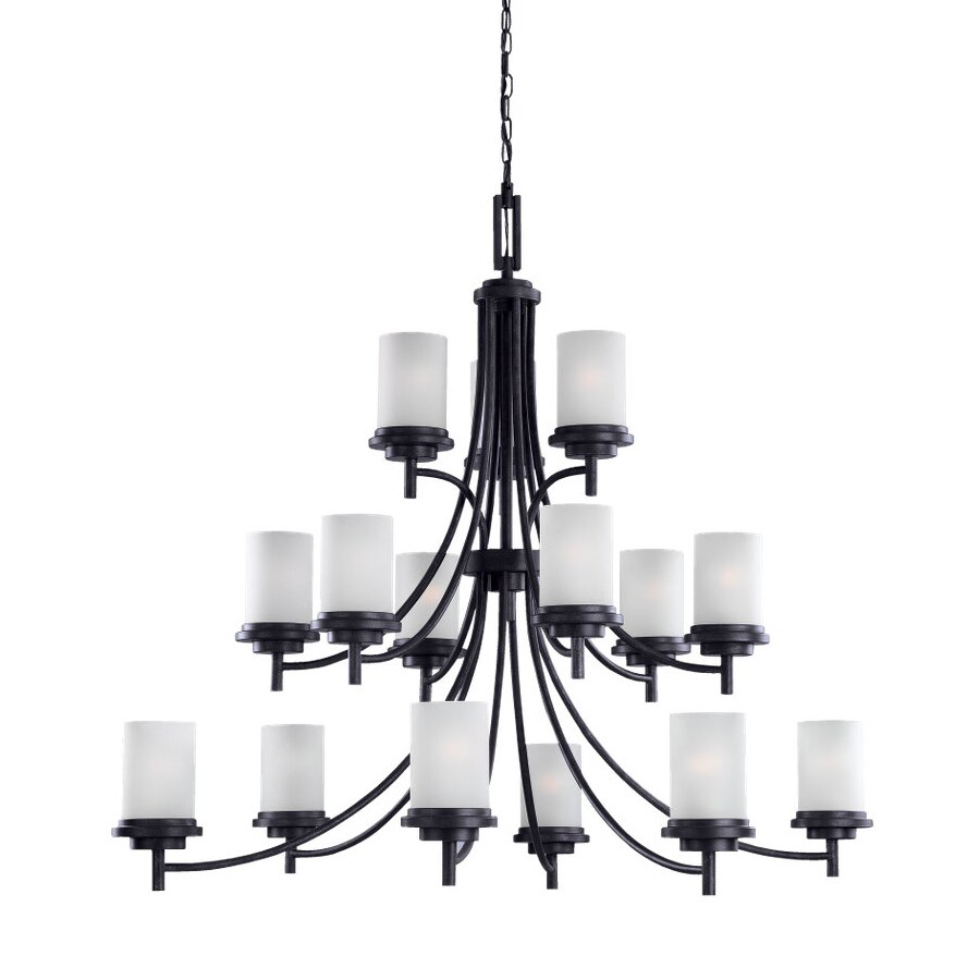 Sea Gull Lighting Winnetka 46.5-in 15-Light Blacksmith Craftsman Etched Glass Tiered Chandelier