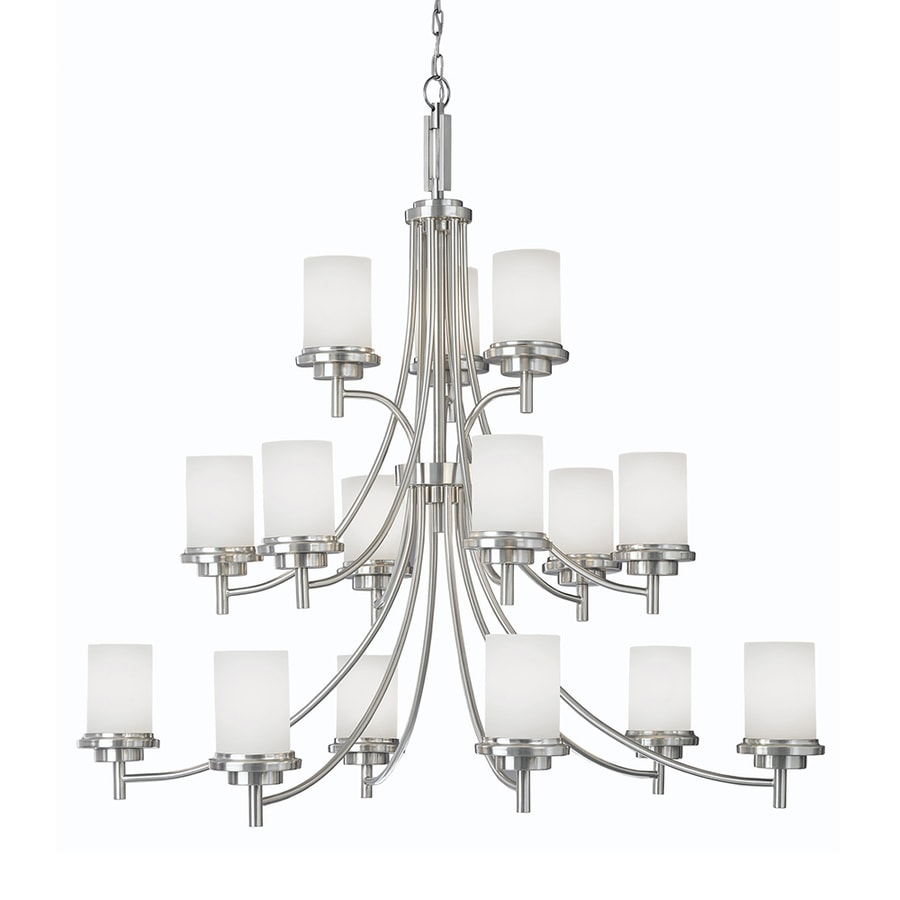 Sea Gull Lighting Winnetka 46.5-in 15-Light Brushed Nickel Etched Glass Tiered Chandelier