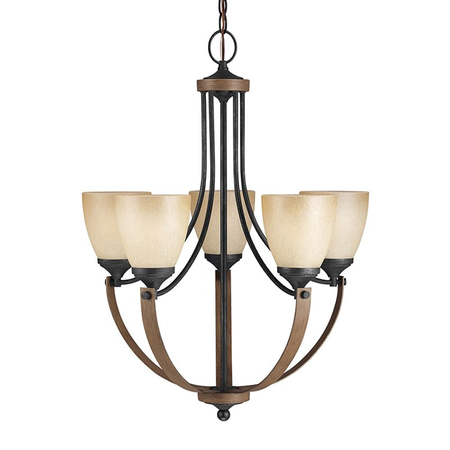 Sea Gull Lighting Corbeille 22.75-in 5-Light Stardust/Cerused Oak Rustic Tinted Glass Shaded Chandelier