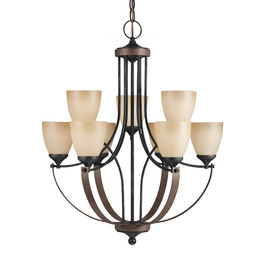 Sea Gull Lighting Corbeille 28.25-in 9-Light Stardust/Cerused Oak Rustic Tinted Glass Shaded Chandelier