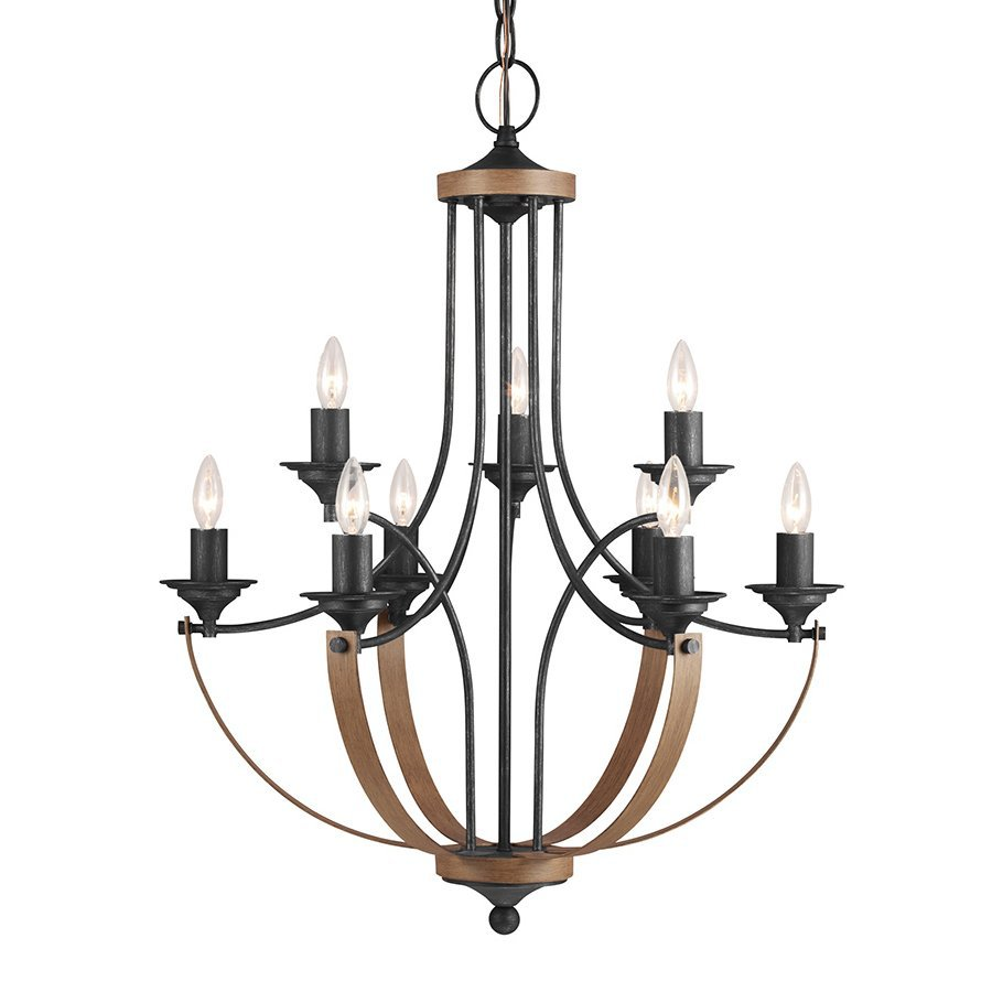 Sea Gull Lighting Corbeille 27-in 9-Light Stardust/Cerused Oak Wrought Iron Candle Chandelier