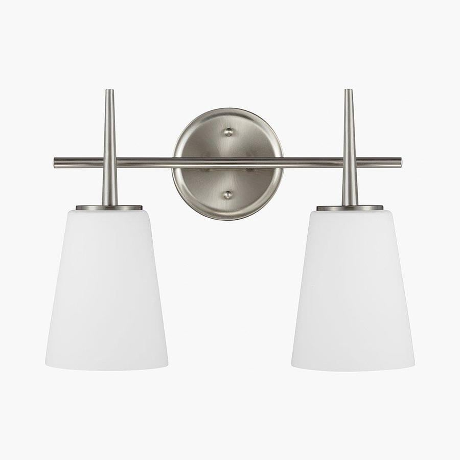 Sea Gull Lighting Driscoll 2-Light 12-in Brushed nickel Bell Vanity Light