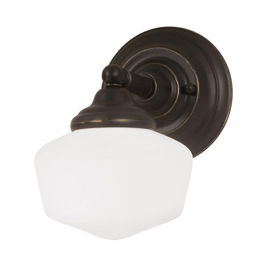 Sea Gull Lighting Academy 1-Light 10-in Heirloom bronze Schoolhouse Vanity Light