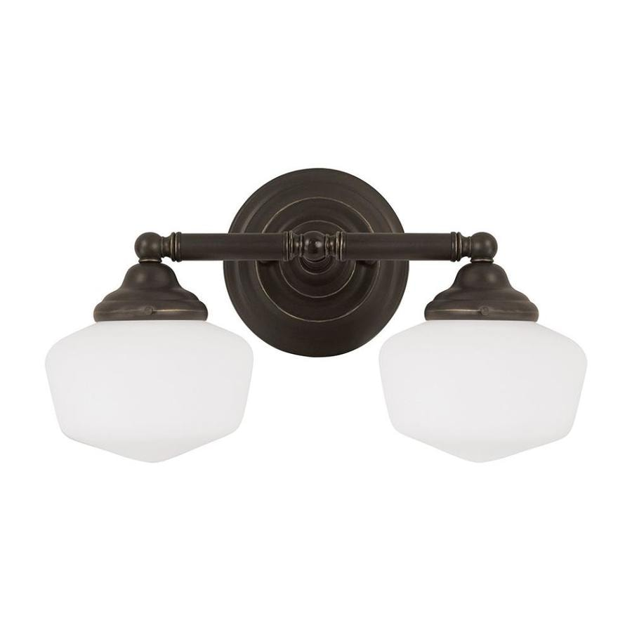 Sea Gull Lighting Academy 2-Light Heirloom Bronze Schoolhouse Vanity Light