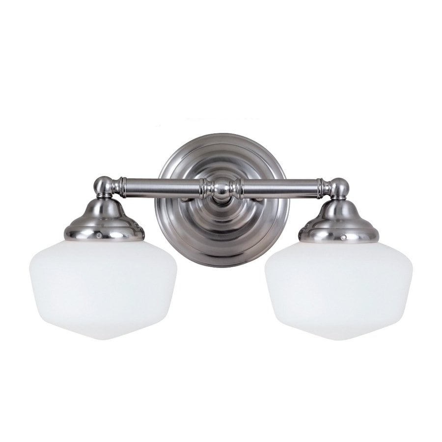 Sea Gull Lighting Academy 2-Light Brushed Nickel Schoolhouse Vanity Light