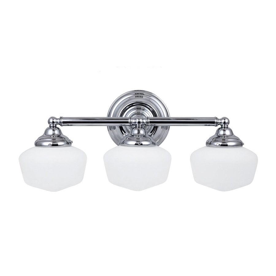 Vanity Lights Bulbs : Shop Sea Gull Lighting Academy 3-Light Chrome Schoolhouse Vanity Light at Lowes.com