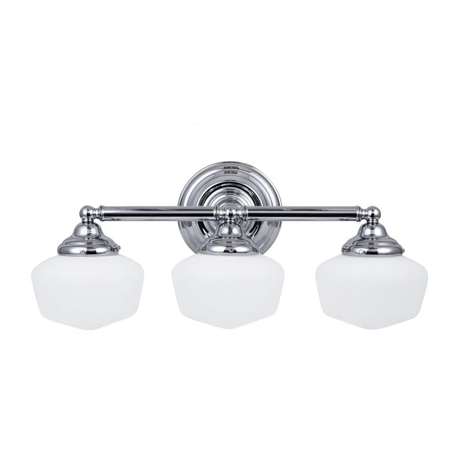 Sea Gull Lighting Academy 3-Light Chrome Schoolhouse Vanity Light