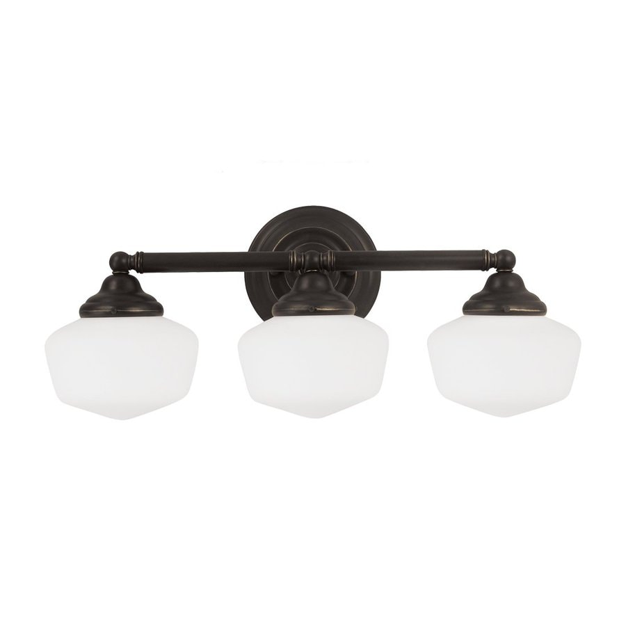 Sea Gull Lighting Academy 3-Light Heirloom Bronze Schoolhouse Vanity Light