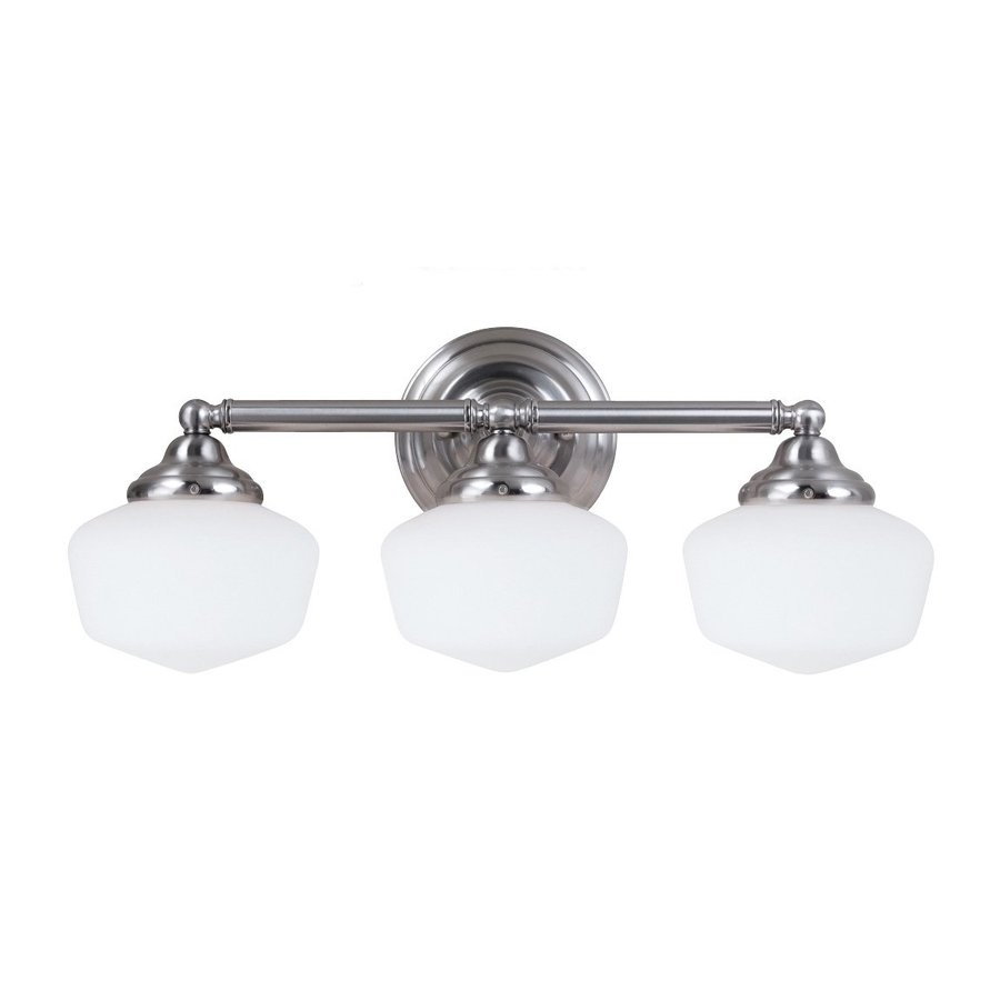 Sea Gull Lighting Academy 3-Light Brushed Nickel Schoolhouse Vanity Light