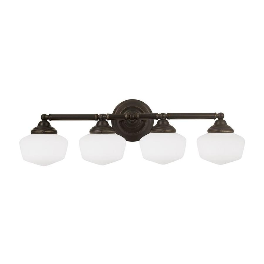 Sea Gull Lighting Academy 4-Light 10-in Heirloom bronze Schoolhouse Vanity Light